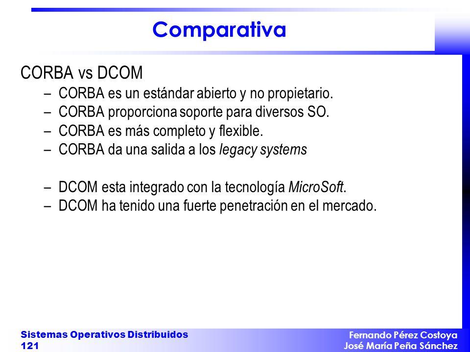 Fernando Pérez Costoya José María Peña Sánchez Sistemas Operativos Distribuidos 121 Comparativa CORBA vs DCOM –CORBA es un estándar abierto y no propietario.