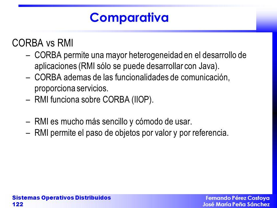Fernando Pérez Costoya José María Peña Sánchez Sistemas Operativos Distribuidos 122 Comparativa CORBA vs RMI –CORBA permite una mayor heterogeneidad e