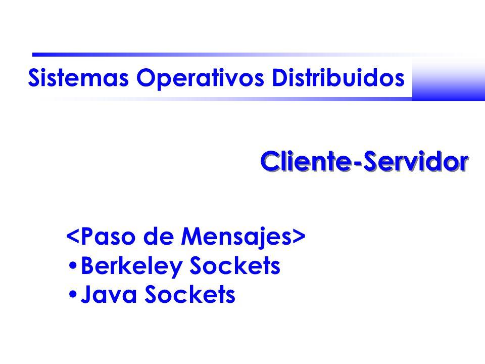 Sistemas Operativos Distribuidos Cliente-Servidor Berkeley Sockets Java Sockets