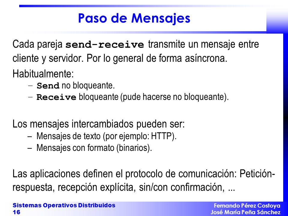 Fernando Pérez Costoya José María Peña Sánchez Sistemas Operativos Distribuidos 16 Paso de Mensajes Cada pareja send-receive transmite un mensaje entr