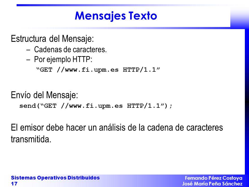 Fernando Pérez Costoya José María Peña Sánchez Sistemas Operativos Distribuidos 17 Mensajes Texto Estructura del Mensaje: –Cadenas de caracteres.