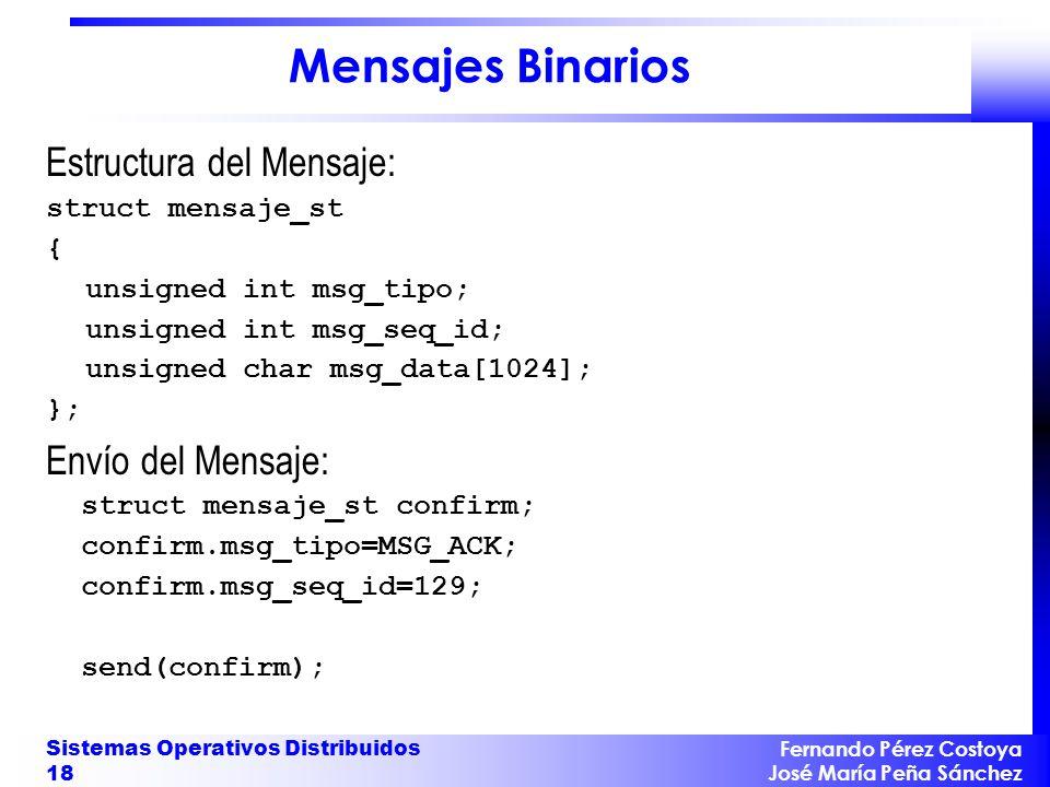 Fernando Pérez Costoya José María Peña Sánchez Sistemas Operativos Distribuidos 18 Mensajes Binarios Estructura del Mensaje: struct mensaje_st { unsigned int msg_tipo; unsigned int msg_seq_id; unsigned char msg_data[1024]; }; Envío del Mensaje: struct mensaje_st confirm; confirm.msg_tipo=MSG_ACK; confirm.msg_seq_id=129; send(confirm);