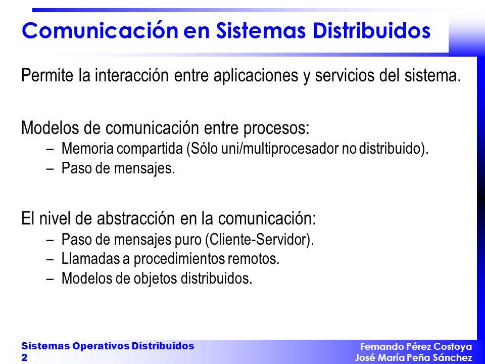 Fernando Pérez Costoya José María Peña Sánchez Sistemas Operativos Distribuidos 2 Comunicación en Sistemas Distribuidos Permite la interacción entre a