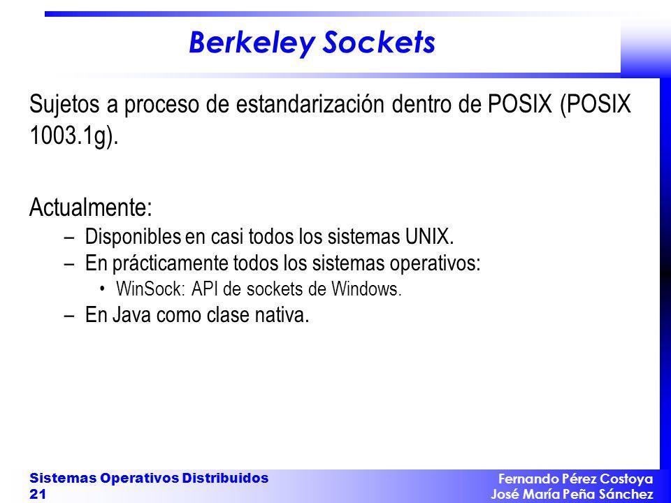 Fernando Pérez Costoya José María Peña Sánchez Sistemas Operativos Distribuidos 21 Berkeley Sockets Sujetos a proceso de estandarización dentro de POS