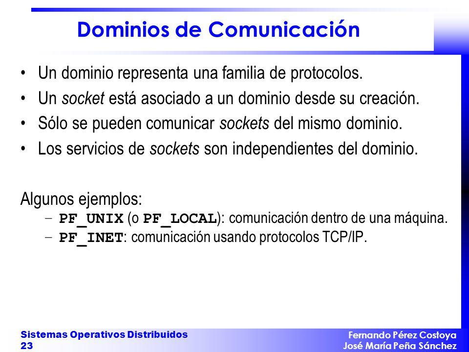 Fernando Pérez Costoya José María Peña Sánchez Sistemas Operativos Distribuidos 23 Dominios de Comunicación Un dominio representa una familia de proto