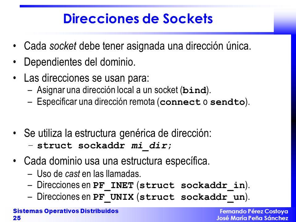 Fernando Pérez Costoya José María Peña Sánchez Sistemas Operativos Distribuidos 25 Direcciones de Sockets Cada socket debe tener asignada una direcció