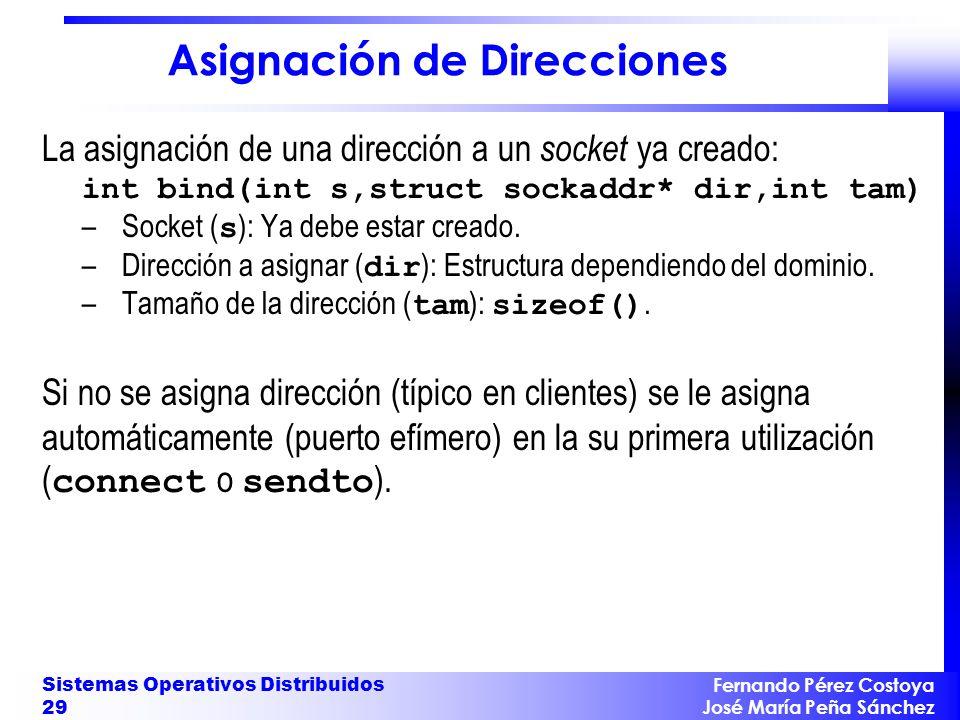 Fernando Pérez Costoya José María Peña Sánchez Sistemas Operativos Distribuidos 29 Asignación de Direcciones La asignación de una dirección a un socke