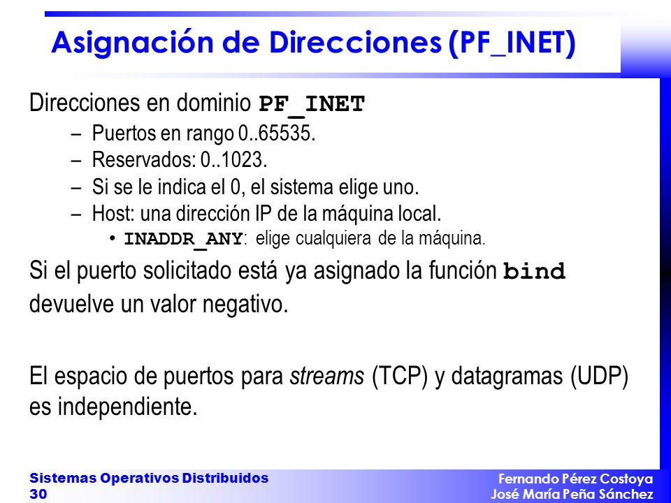 Fernando Pérez Costoya José María Peña Sánchez Sistemas Operativos Distribuidos 30 Asignación de Direcciones (PF_INET) Direcciones en dominio PF_INET