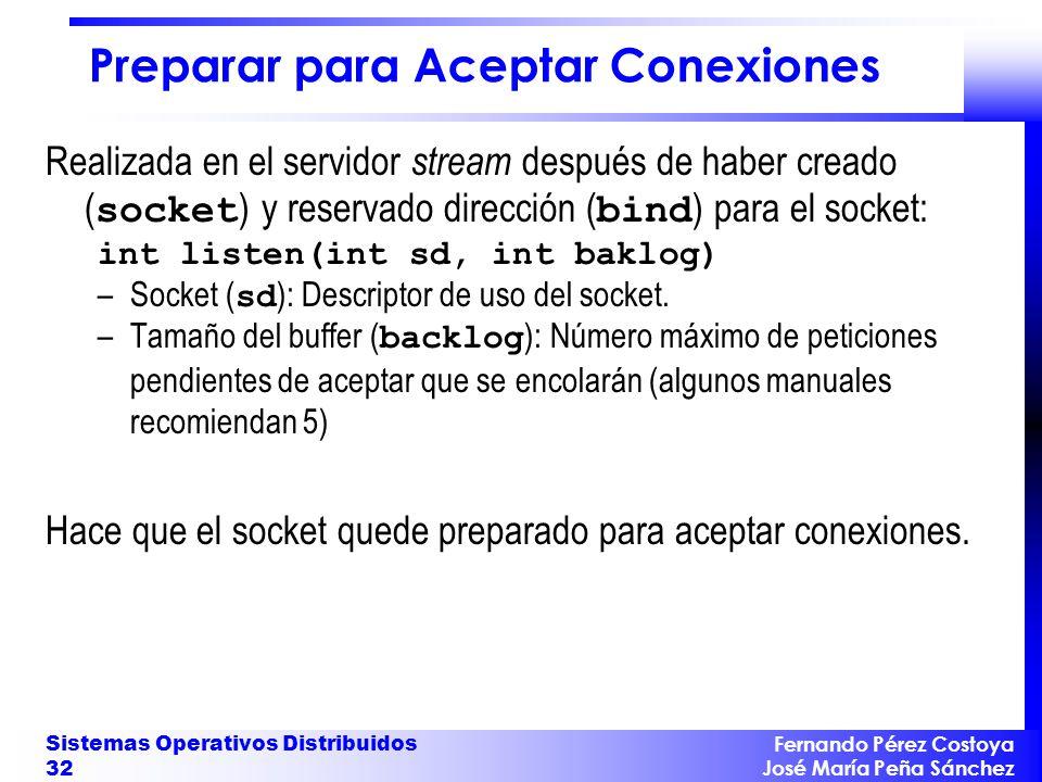 Fernando Pérez Costoya José María Peña Sánchez Sistemas Operativos Distribuidos 32 Preparar para Aceptar Conexiones Realizada en el servidor stream de