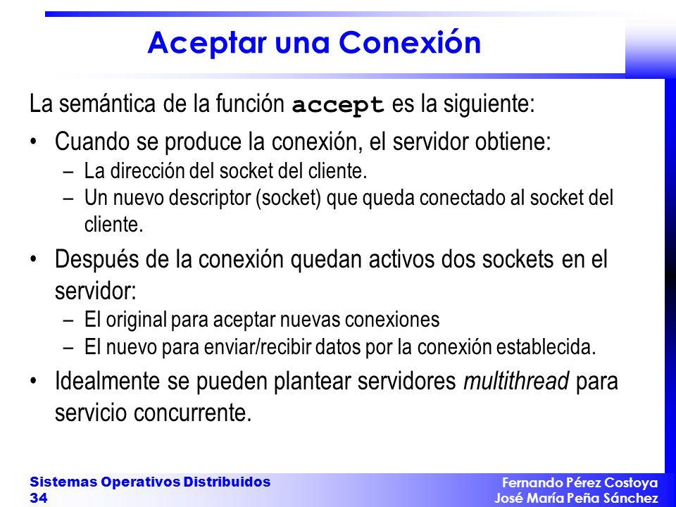 Fernando Pérez Costoya José María Peña Sánchez Sistemas Operativos Distribuidos 34 Aceptar una Conexión La semántica de la función accept es la siguie