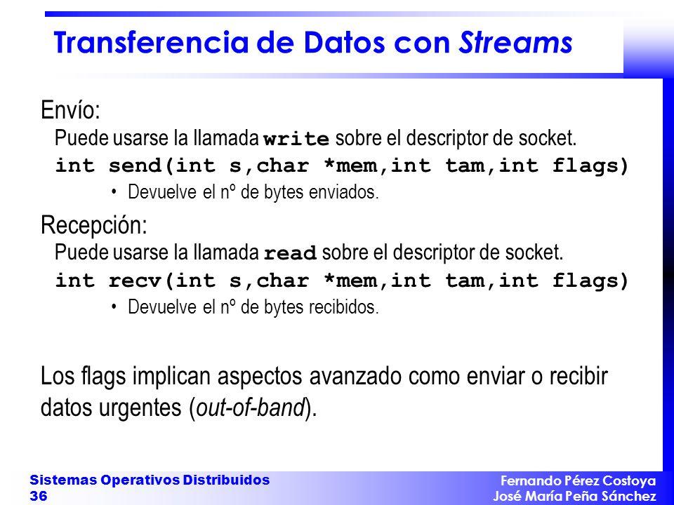 Fernando Pérez Costoya José María Peña Sánchez Sistemas Operativos Distribuidos 36 Transferencia de Datos con Streams Envío: Puede usarse la llamada w