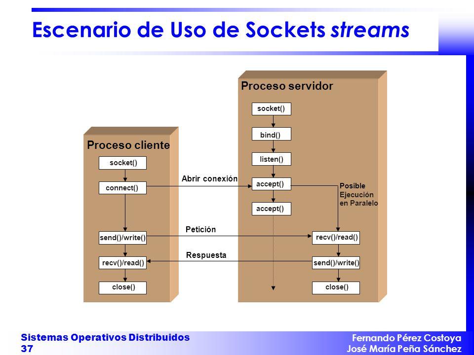 Fernando Pérez Costoya José María Peña Sánchez Sistemas Operativos Distribuidos 37 Escenario de Uso de Sockets streams Proceso cliente Proceso servidor socket() bind() listen() accept() Posible Ejecución en Paralelo accept() connect() Abrir conexión close() Petición send()/write() Respuesta close() recv()/read() send()/write()recv()/read()