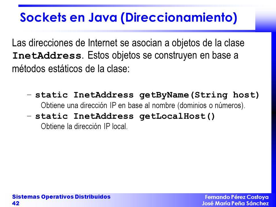 Fernando Pérez Costoya José María Peña Sánchez Sistemas Operativos Distribuidos 42 Sockets en Java (Direccionamiento) Las direcciones de Internet se a