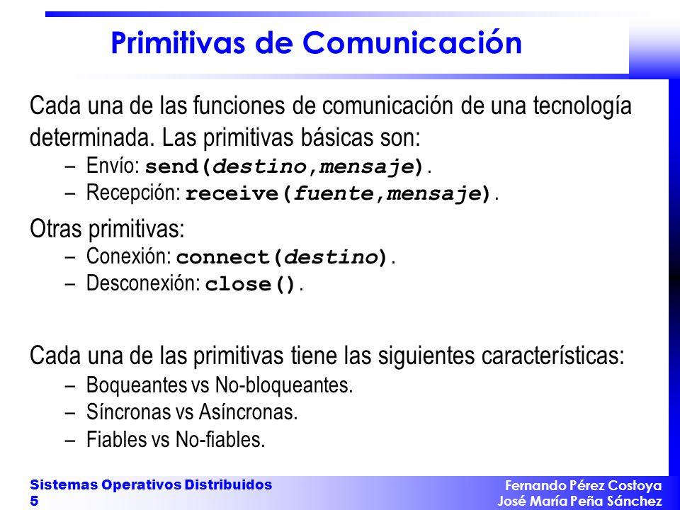 Fernando Pérez Costoya José María Peña Sánchez Sistemas Operativos Distribuidos 5 Primitivas de Comunicación Cada una de las funciones de comunicación