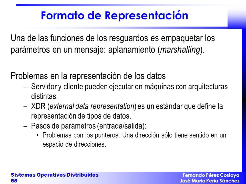 Fernando Pérez Costoya José María Peña Sánchez Sistemas Operativos Distribuidos 55 Formato de Representación Una de las funciones de los resguardos es empaquetar los parámetros en un mensaje: aplanamiento ( marshalling ).