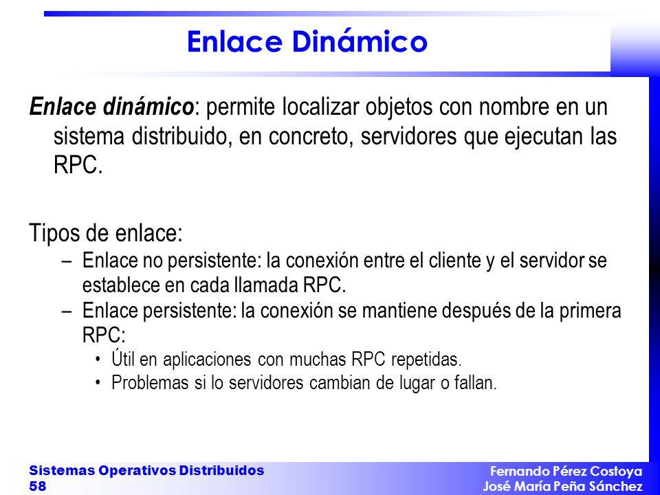 Fernando Pérez Costoya José María Peña Sánchez Sistemas Operativos Distribuidos 58 Enlace Dinámico Enlace dinámico : permite localizar objetos con nom