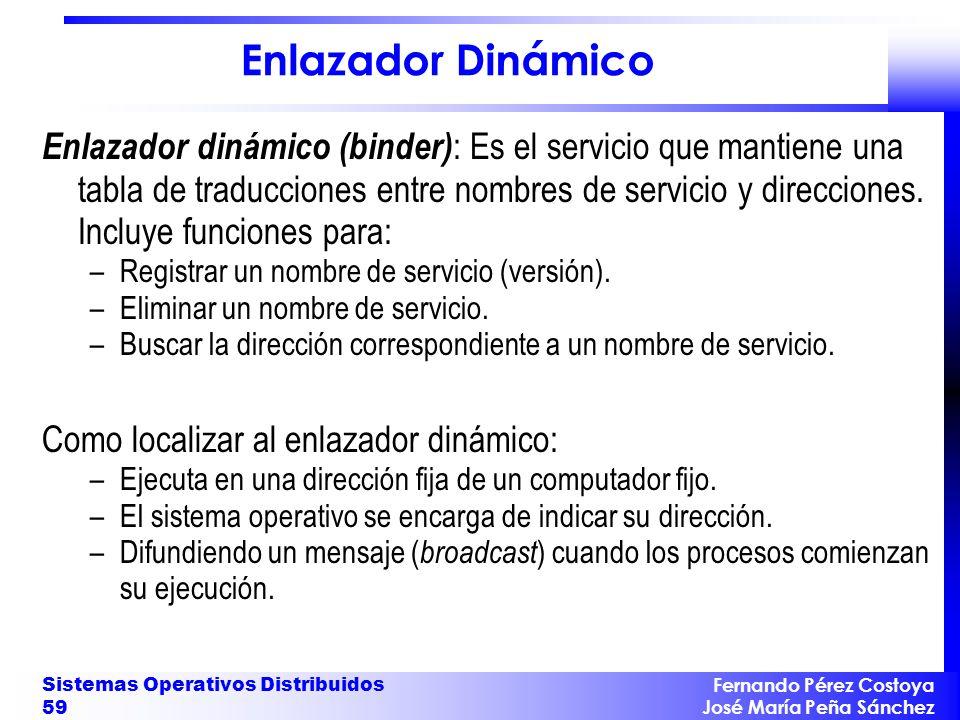 Fernando Pérez Costoya José María Peña Sánchez Sistemas Operativos Distribuidos 59 Enlazador Dinámico Enlazador dinámico (binder) : Es el servicio que mantiene una tabla de traducciones entre nombres de servicio y direcciones.