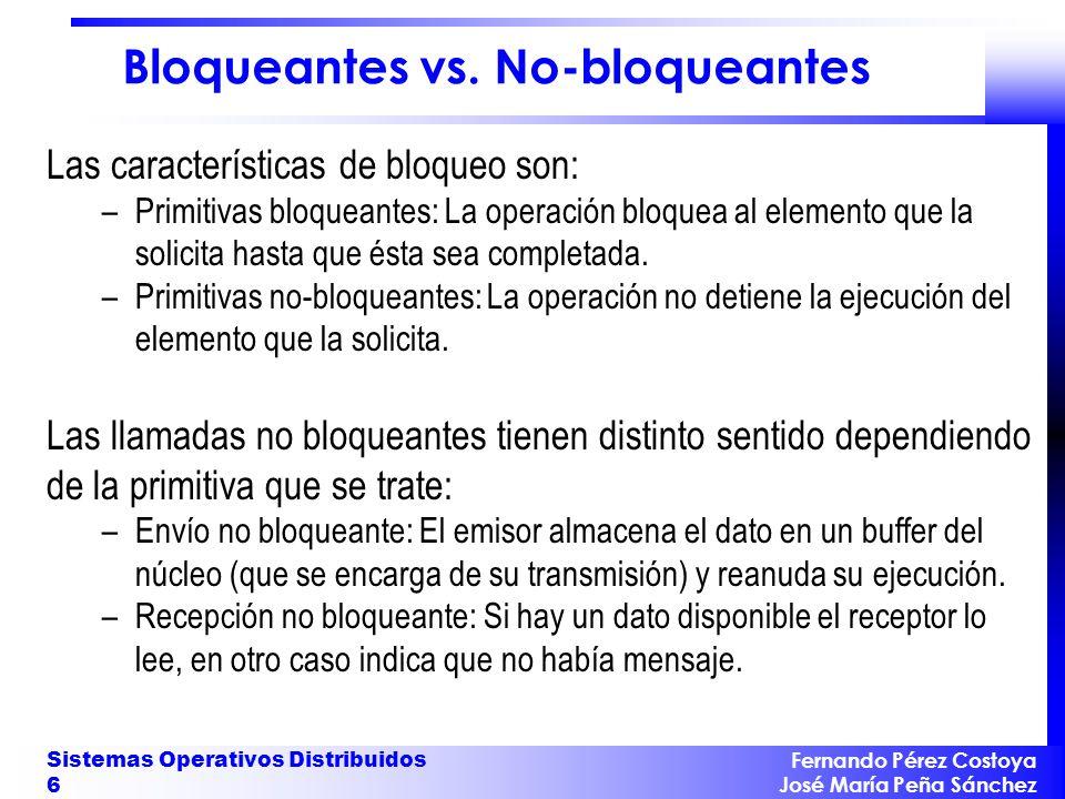 Fernando Pérez Costoya José María Peña Sánchez Sistemas Operativos Distribuidos 6 Bloqueantes vs. No-bloqueantes Las características de bloqueo son: –