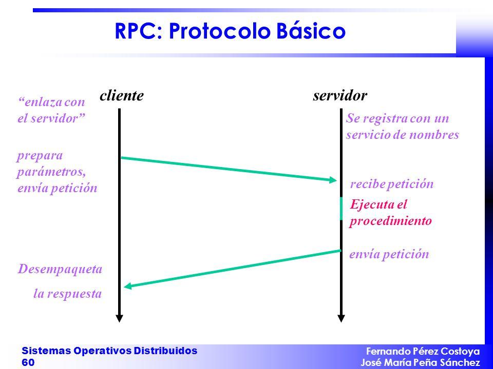 Fernando Pérez Costoya José María Peña Sánchez Sistemas Operativos Distribuidos 60 RPC: Protocolo Básico cliente servidor Desempaqueta la respuesta Se registra con un servicio de nombres recibe petición Ejecuta el procedimiento envía petición enlaza con el servidor prepara parámetros, envía petición