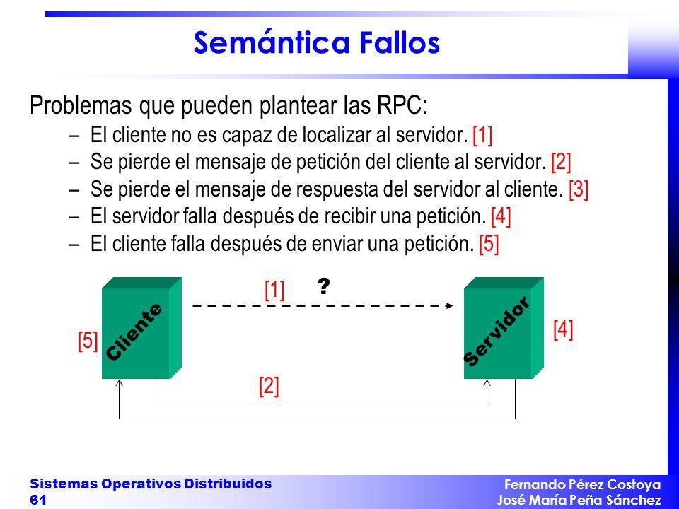 Fernando Pérez Costoya José María Peña Sánchez Sistemas Operativos Distribuidos 61 Semántica Fallos Problemas que pueden plantear las RPC: –El cliente no es capaz de localizar al servidor.