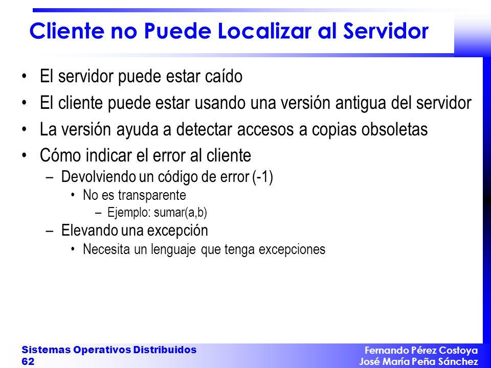 Fernando Pérez Costoya José María Peña Sánchez Sistemas Operativos Distribuidos 62 Cliente no Puede Localizar al Servidor El servidor puede estar caíd