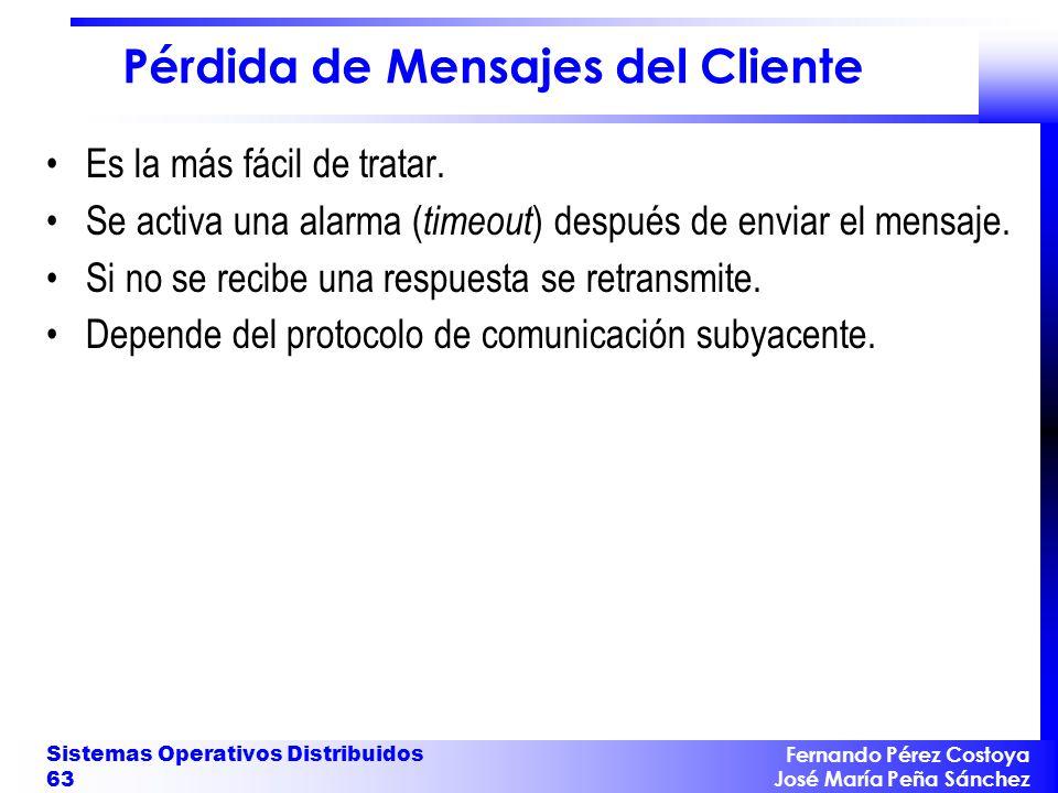 Fernando Pérez Costoya José María Peña Sánchez Sistemas Operativos Distribuidos 63 Pérdida de Mensajes del Cliente Es la más fácil de tratar. Se activ