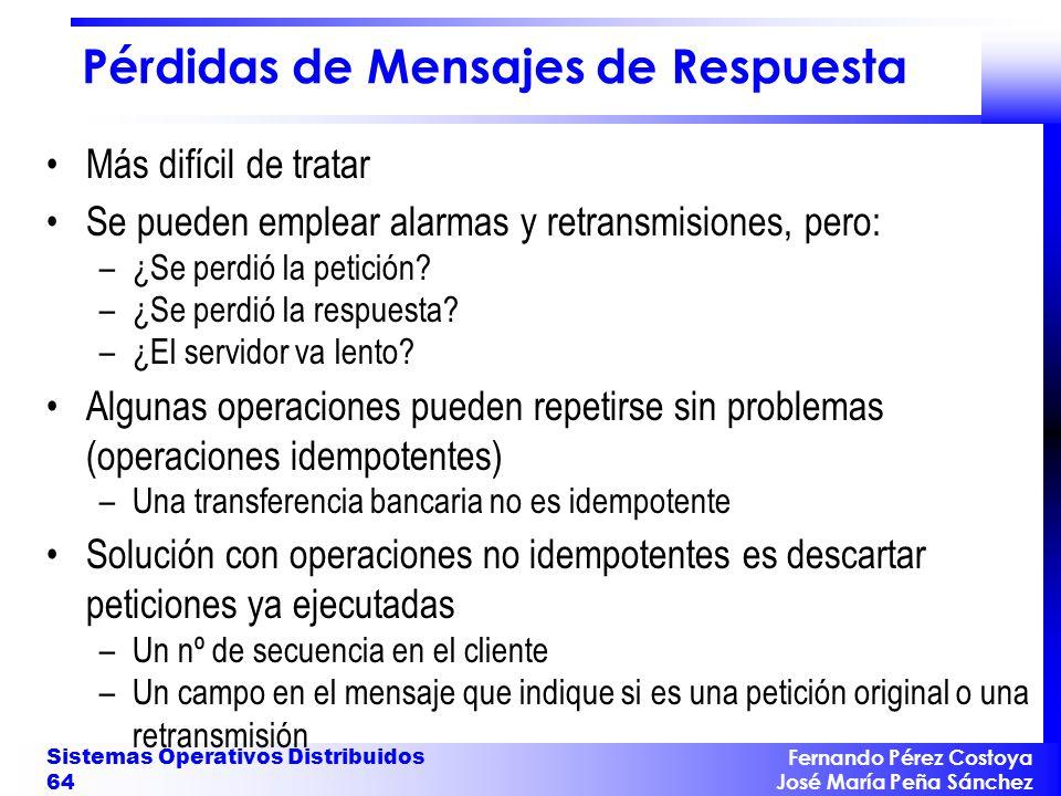 Fernando Pérez Costoya José María Peña Sánchez Sistemas Operativos Distribuidos 64 Pérdidas de Mensajes de Respuesta Más difícil de tratar Se pueden e