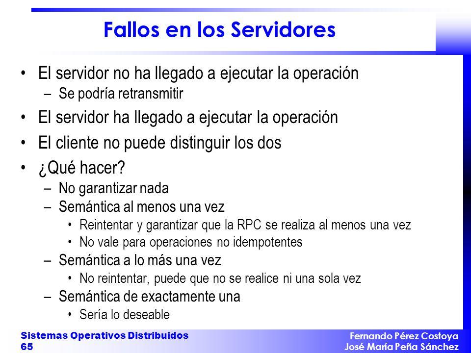 Fernando Pérez Costoya José María Peña Sánchez Sistemas Operativos Distribuidos 65 Fallos en los Servidores El servidor no ha llegado a ejecutar la op
