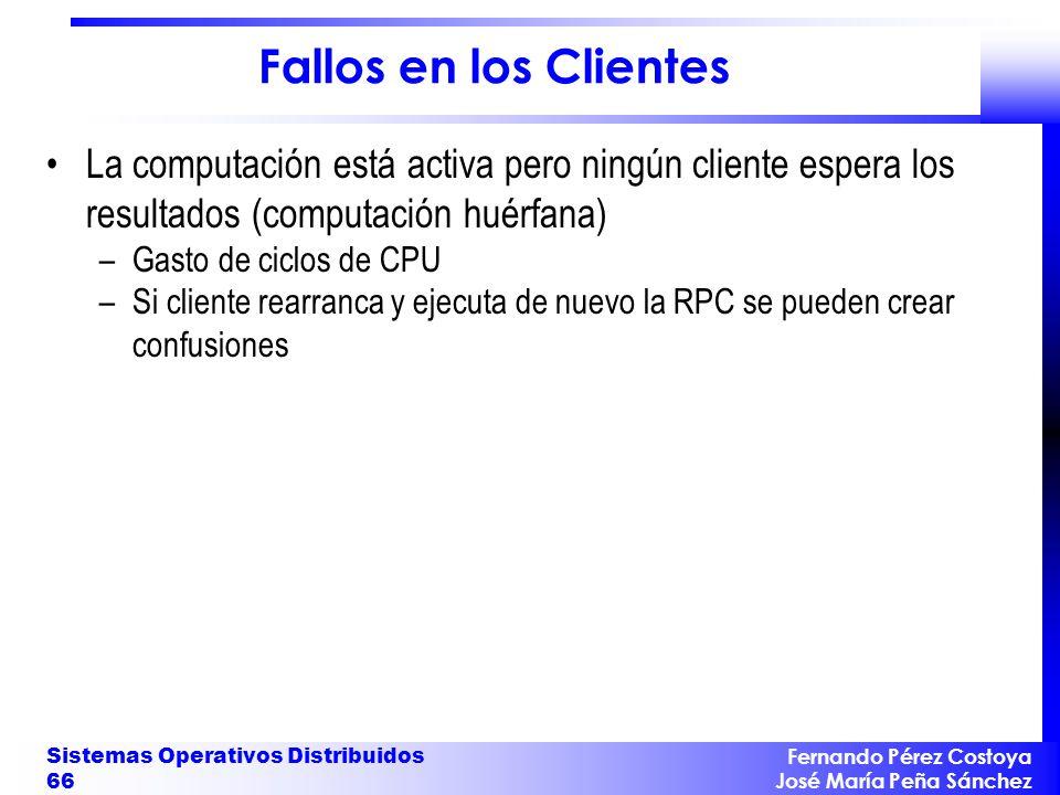Fernando Pérez Costoya José María Peña Sánchez Sistemas Operativos Distribuidos 66 Fallos en los Clientes La computación está activa pero ningún clien