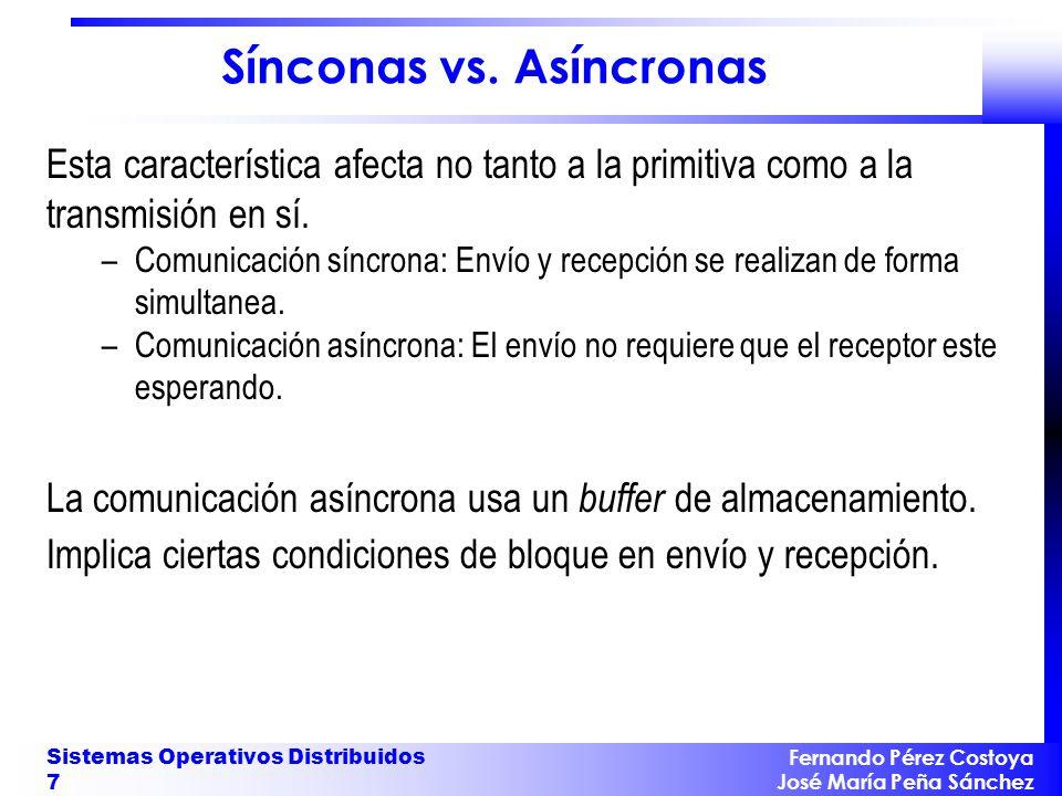 Fernando Pérez Costoya José María Peña Sánchez Sistemas Operativos Distribuidos 7 Sínconas vs. Asíncronas Esta característica afecta no tanto a la pri