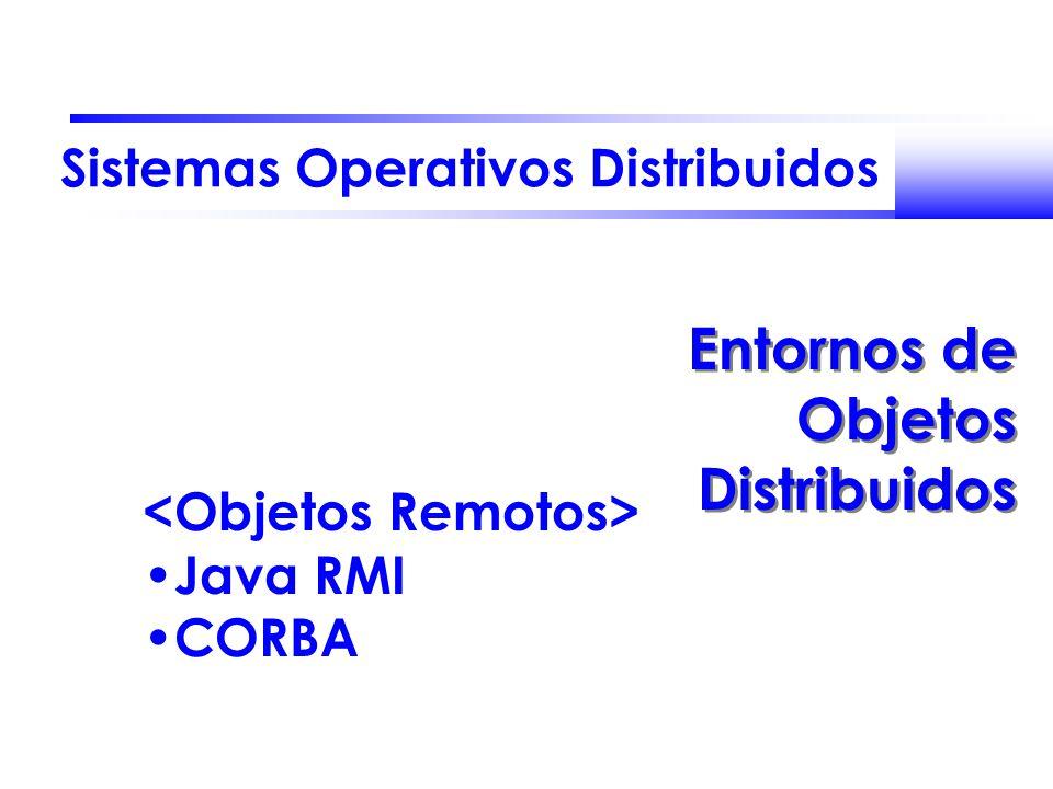 Sistemas Operativos Distribuidos Entornos de Objetos Distribuidos Java RMI CORBA
