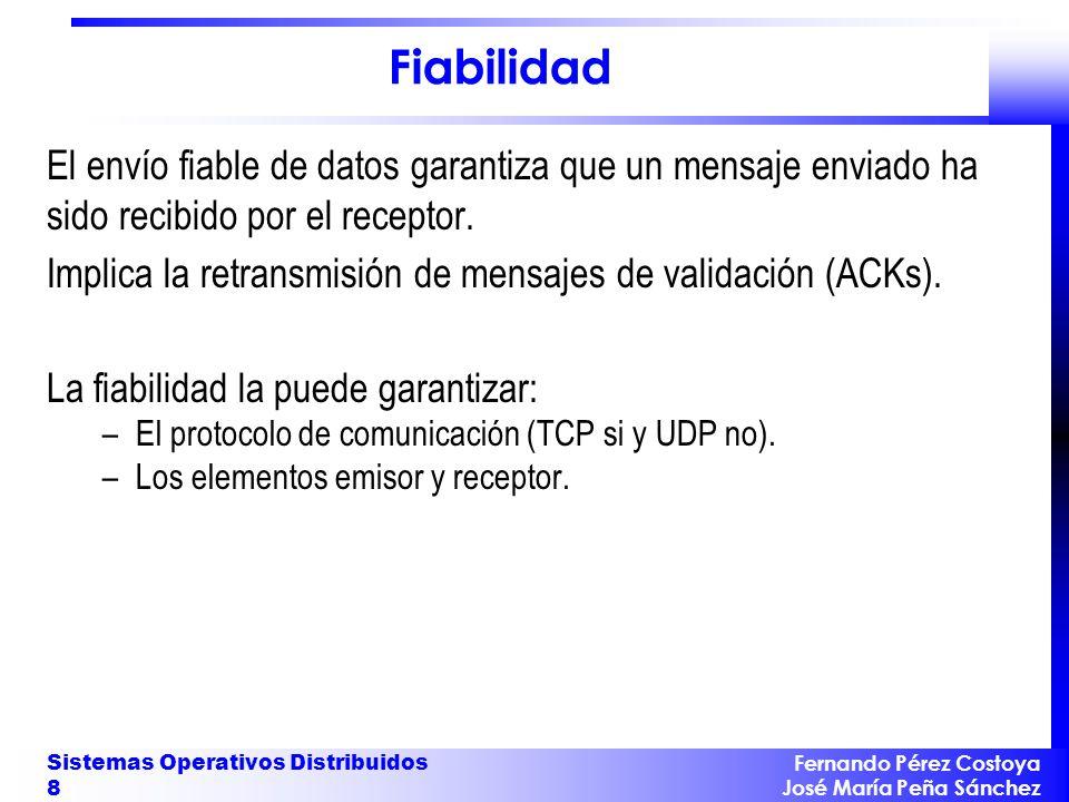 Fernando Pérez Costoya José María Peña Sánchez Sistemas Operativos Distribuidos 8 Fiabilidad El envío fiable de datos garantiza que un mensaje enviado ha sido recibido por el receptor.
