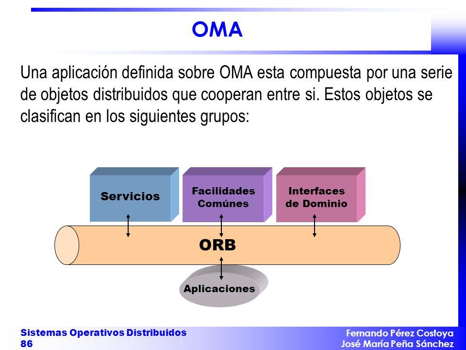 Fernando Pérez Costoya José María Peña Sánchez Sistemas Operativos Distribuidos 86 ORB Servicios Facilidades Comúnes Interfaces de Dominio Aplicacione
