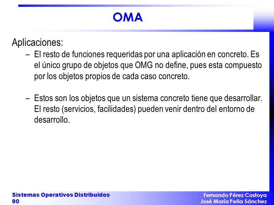 Fernando Pérez Costoya José María Peña Sánchez Sistemas Operativos Distribuidos 90 OMA Aplicaciones: –El resto de funciones requeridas por una aplicación en concreto.
