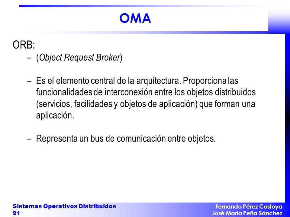 Fernando Pérez Costoya José María Peña Sánchez Sistemas Operativos Distribuidos 91 OMA ORB: –( Object Request Broker ) –Es el elemento central de la arquitectura.