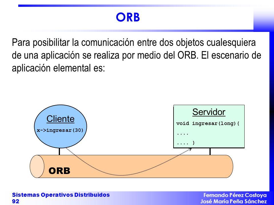 Fernando Pérez Costoya José María Peña Sánchez Sistemas Operativos Distribuidos 92 Servidor void ingresar(long){........ } Cliente x->ingresar(30) ORB