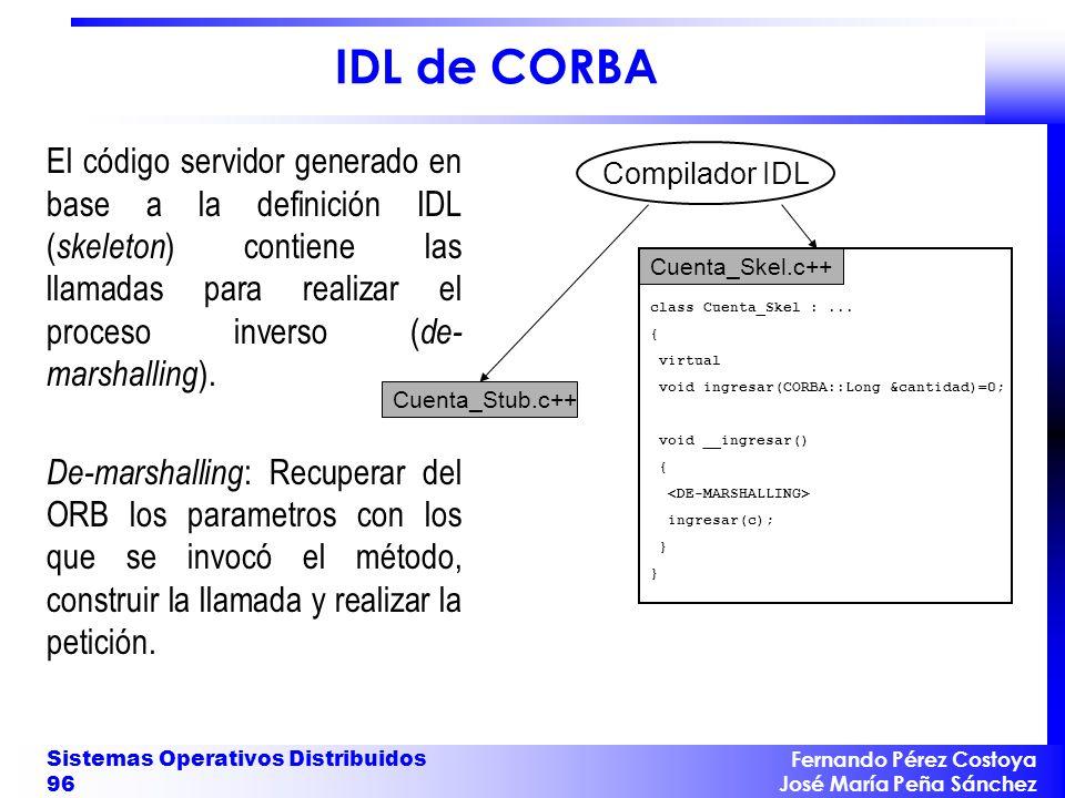 Fernando Pérez Costoya José María Peña Sánchez Sistemas Operativos Distribuidos 96 IDL de CORBA El código servidor generado en base a la definición ID