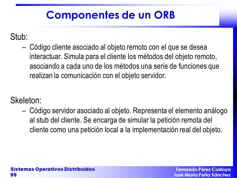 Fernando Pérez Costoya José María Peña Sánchez Sistemas Operativos Distribuidos 99 Componentes de un ORB Stub: –Código cliente asociado al objeto remo