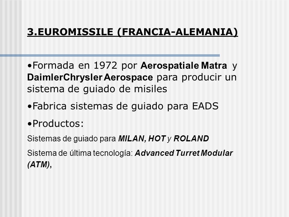 3.EUROMISSILE (FRANCIA-ALEMANIA) Formada en 1972 por Aerospatiale Matra y DaimlerChrysler Aerospace para producir un sistema de guiado de misiles Fabr