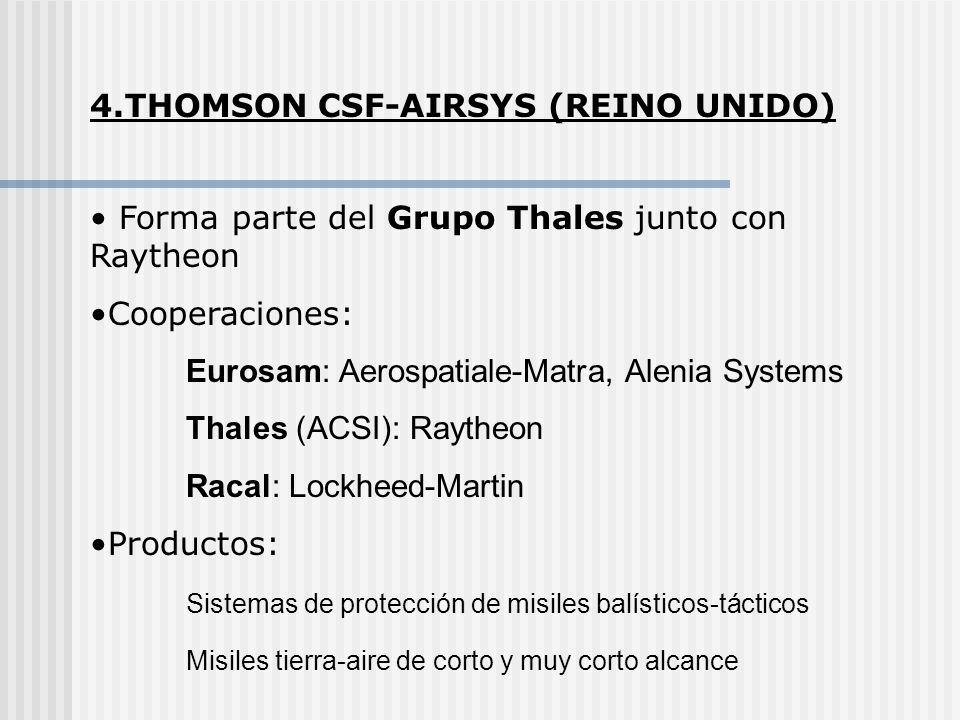 4.THOMSON CSF-AIRSYS (REINO UNIDO) Forma parte del Grupo Thales junto con Raytheon Cooperaciones: Eurosam: Aerospatiale-Matra, Alenia Systems Thales (