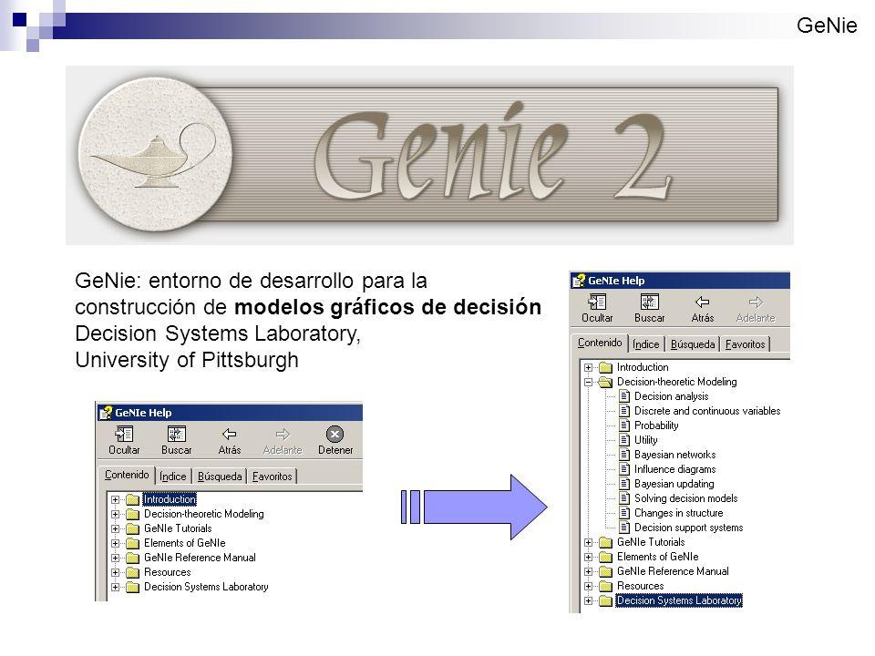 GeNie GeNie: entorno de desarrollo para la construcción de modelos gráficos de decisión Decision Systems Laboratory, University of Pittsburgh