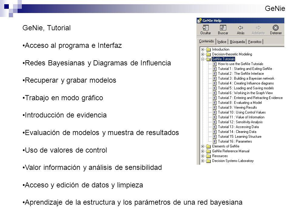 GeNie GeNie, Tutorial Acceso al programa e Interfaz Redes Bayesianas y Diagramas de Influencia Recuperar y grabar modelos Trabajo en modo gráfico Introducción de evidencia Evaluación de modelos y muestra de resultados Uso de valores de control Valor información y análisis de sensibilidad Acceso y edición de datos y limpieza Aprendizaje de la estructura y los parámetros de una red bayesiana