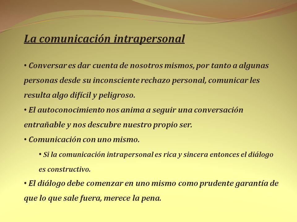 La comunicación intrapersonal Conversar es dar cuenta de nosotros mismos, por tanto a algunas personas desde su inconsciente rechazo personal, comunic