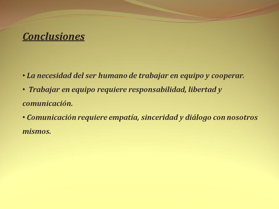 Conclusiones La necesidad del ser humano de trabajar en equipo y cooperar. Trabajar en equipo requiere responsabilidad, libertad y comunicación. Comun