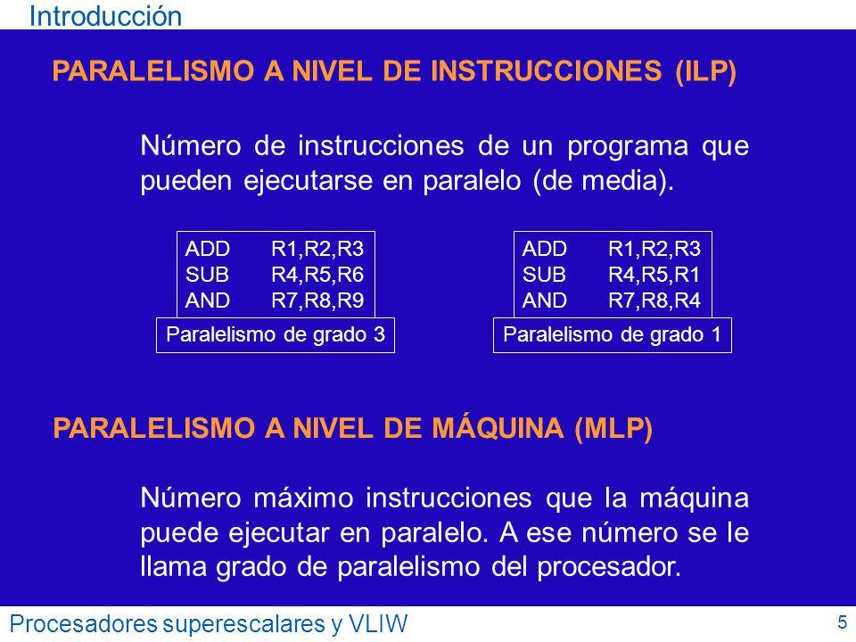 Procesadores superescalares y VLIW DestinoValorOKU.F.Estado Registro destino Resultado de la operación U.F.