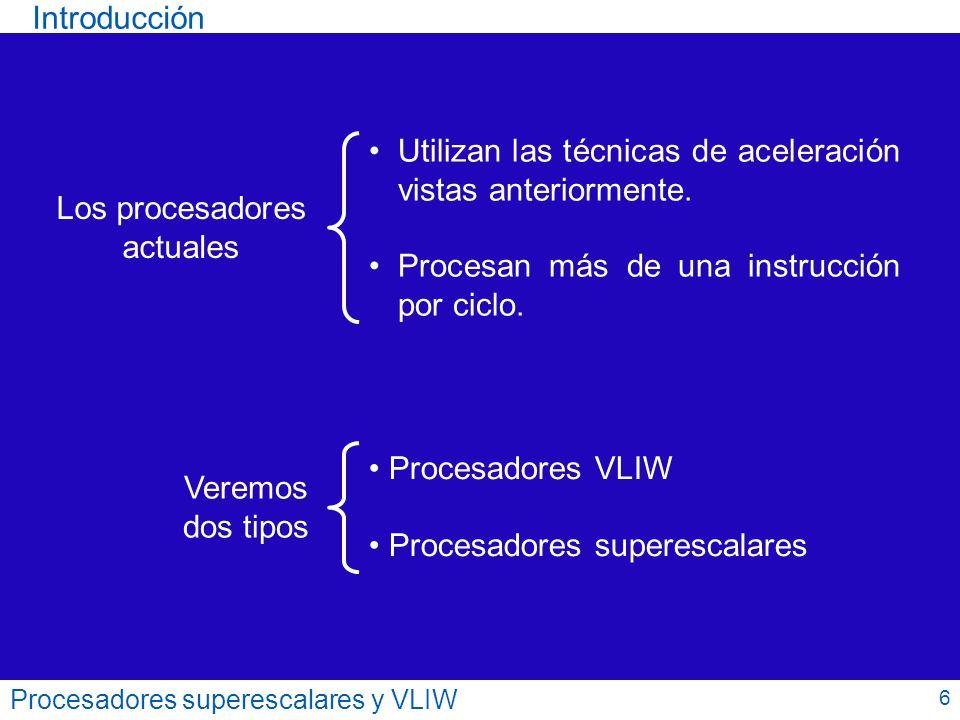 Procesadores superescalares y VLIW Variante con estaciones de reserva 27 Decodificación / Emisión INT + - FP * FP / MEMINT + - FP * Bcc..