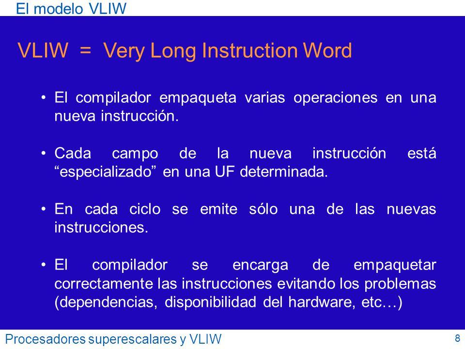 Procesadores superescalares y VLIW Esta etapa se vuelve demasiado costosa ya que hay que realizar numerosas tareas (buscar operandos, examinar dependencias, …) y para varias instrucciones.