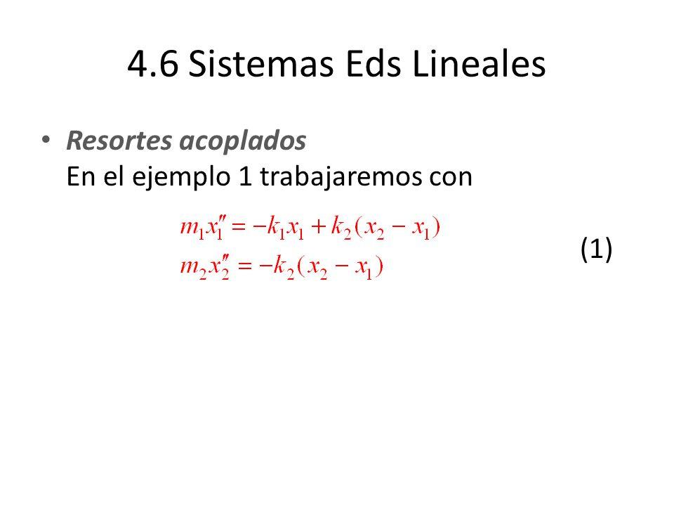4.6 Sistemas Eds Lineales Resortes acoplados En el ejemplo 1 trabajaremos con (1)