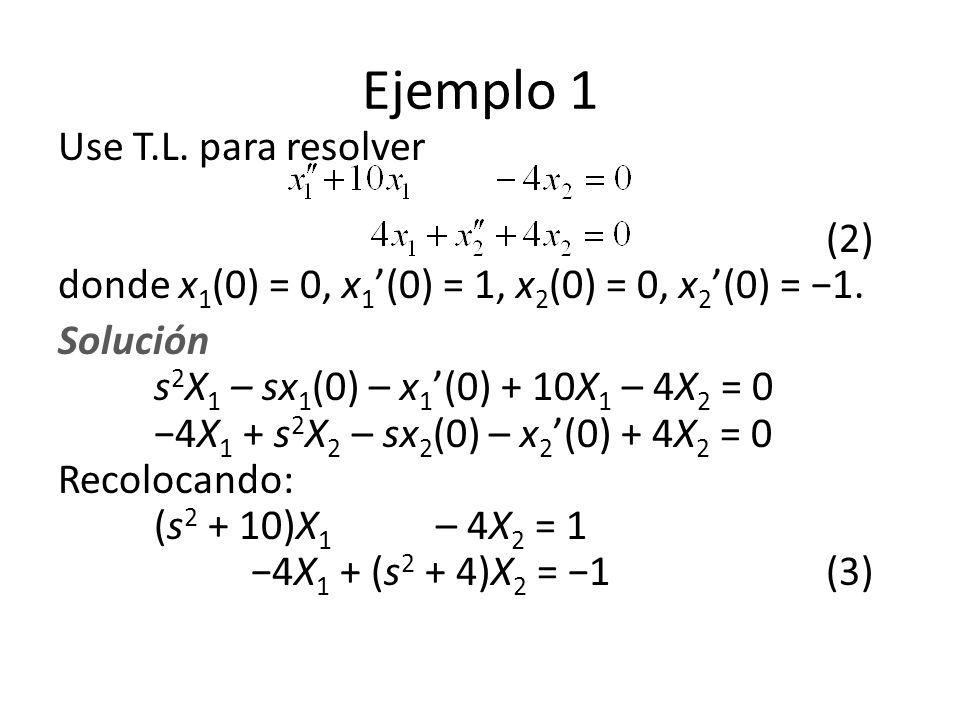 Ejemplo 1 Use T.L.para resolver (2) donde x 1 (0) = 0, x 1 (0) = 1, x 2 (0) = 0, x 2 (0) = 1.
