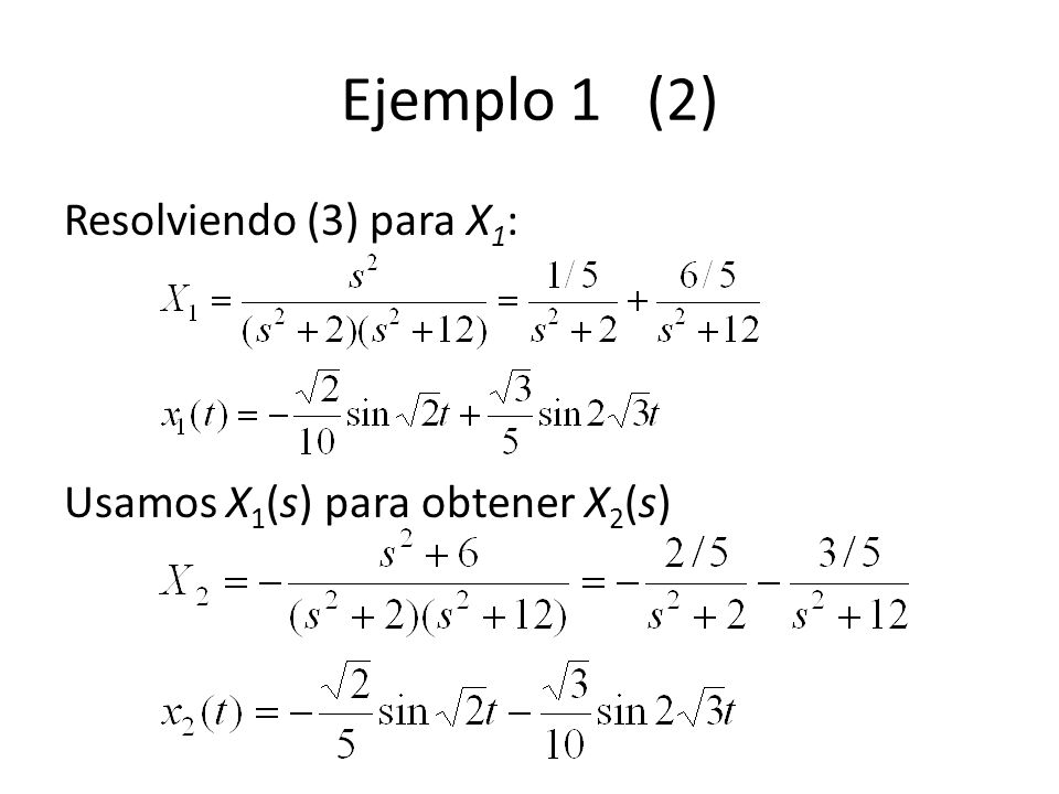Ejemplo 1 (2) Resolviendo (3) para X 1 : Usamos X 1 (s) para obtener X 2 (s)